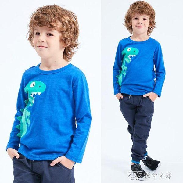 卡通恐龍男童T恤兒童長袖體恤中大童裝秋裝寶寶純棉上衣 探索先鋒
