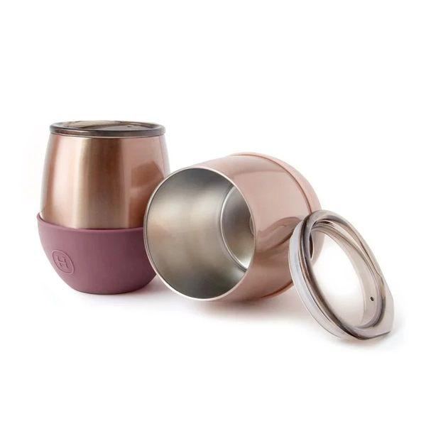 美國HYDY雙層隨行保溫杯-乾燥玫瑰-蜜粉金  240ML 蛋型杯 時尚杯 手拿杯 輕巧