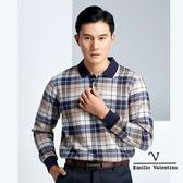 【Emilio Valentino】經典義式格紋保暖溫料POLO衫 - 藍/卡其