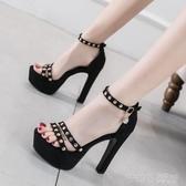 高跟鞋 T台模特走秀鞋 13CM超高跟女鞋防水台一字扣帶粗跟鉚釘涼鞋女夏潮 茱莉亞