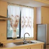 北歐美式玫瑰門簾半簾櫥窗簾遮擋簾蕾絲紗簾廚房窗簾白紗咖啡簾