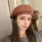 畫家帽 造型帽 帽子女韓版潮百搭復古PU皮質網紅款貝雷帽八角秋冬季英倫畫家帽男