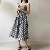 洋裝 韓版格子V領露背蝴蝶結吊帶連身裙無袖中長裙 降價兩天