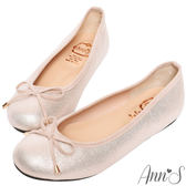 Ann'S容易親近-細緻光澤感3D乳膠蝴蝶結平底娃娃鞋-金