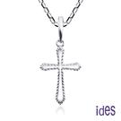 ides愛蒂思 輕珠寶義大利進口14K白金十字架項鍊鎖骨鍊(16吋-KP753)