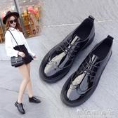 皮鞋女冬新款小黑鞋女百搭英倫風女鞋子韓版學生復古小皮鞋女 晴天時尚館