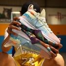 2020四季款運動鞋透氣飛織籃球鞋爆米花底學生球鞋拼色情侶大碼鞋