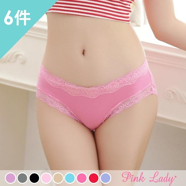 舒適棉柔親膚內褲 魅力蕾絲甜美 低腰內褲3503(6件組)-Pink Lady