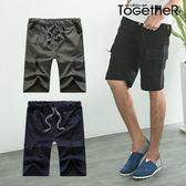 ToGetheR+【K3682】百搭潮流款方形大口袋抽繩休閒短褲(三色)