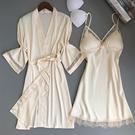 睡裙 性感睡衣女夏冰絲綢薄款兩件套成人帶胸墊吊帶睡裙聚攏可外穿正韓-Ballet朵朵