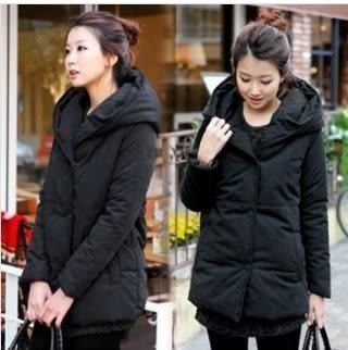 現貨不退換黑色S實物是沒有拉鏈的中長連帽羽絨棉襖風衣外套L-3XL中大尺碼13344/棉衣外套韓版