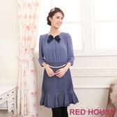 【RED HOUSE 蕾赫斯】雪紡珍珠腰鍊假兩件式洋裝(藍紫色)(無胸針)