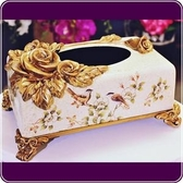 HONEY COMB 歐風立體玫瑰米色大理石紋面紙盒 EB17