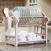 廚房瀝水碗架收納架置物架碗筷簍放碗碟架兩層塑料不銹鋼整理架子 卡布奇诺