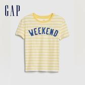 Gap女童復古條紋印花圓領短袖T恤577831-活力明黃色