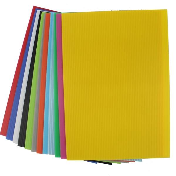 彩色瓦楞板 15cm x 20cm 萬國PP002/一包10張入(定35) 混色 厚度3mm 塑膠瓦楞板 PP瓦楞板 廣告板-萬