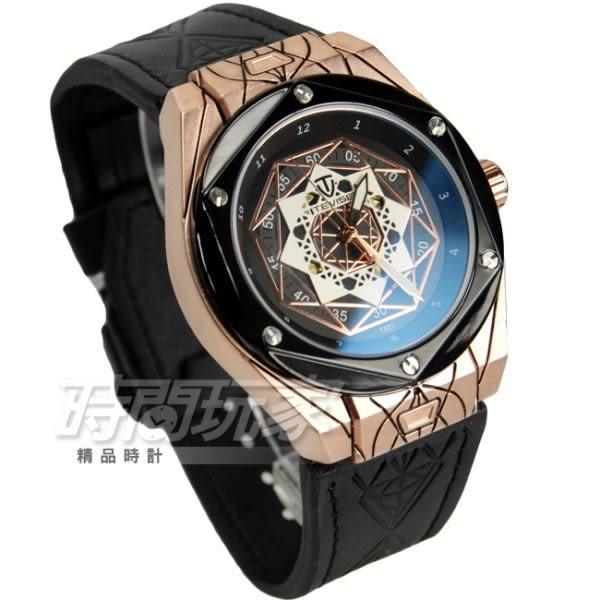 TEVISE特威斯 自動上鍊機械男錶 簍空 鏤空錶背 皮革機械錶 防水手錶 T821玫黑