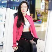 【狐狸跑跑】桃紅線條款女運動套裝外套假兩件九分褲秋冬瑜伽服兩件套裝 25219 25169