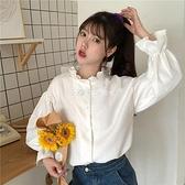 快速出貨 長袖新款秋季小清新木耳邊泡泡袖上衣女網紅氣質白色長袖鹽系襯衫【2021歡樂購】