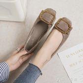 韓版春季時尚水鉆扣軟底粗跟單鞋女方頭絨面平底鞋女鞋子千千女鞋