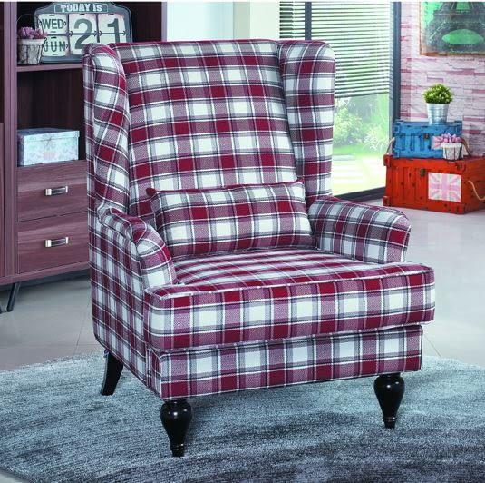 【南洋風休閒傢俱】沙發系列-喬治安娜鄉村格紋單人沙發 休閒沙發 飯店沙發 餐椅 JX202-8