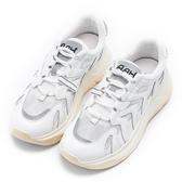 Hong Wa 復古泛黃牛皮綁帶老爹鞋 - 白