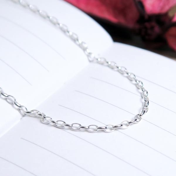 經典小橢圓鍊(1.7mm細鍊) 24吋925純銀項鍊 搭配鍊