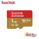 【公司貨 終身保固】SanDisk Extreme Micro SDXC 1TB 160MB/s V30 U3 A2 UHS-1【無轉卡】TF 1T