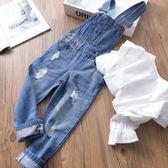 【黑色星期五】兒童牛仔背帶褲 歐美砂洗破洞女童牛仔背帶褲寶寶牛仔褲春裝