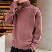 高領毛衣男士2021秋冬新款韓版潮流半針織毛線打底衫外套加絨加厚