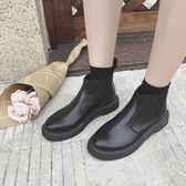 現貨出清秋韓版低粗跟短靴切爾西靴子單靴裸靴厚底馬丁靴女鞋 One shoes