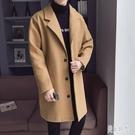 大碼毛呢大衣 男士休閒長版風衣外套秋冬季寬鬆韓版潮流學生中長款上衣 DR31395【美好時光】
