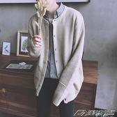 秋日繫原宿風長袖純色針織衫開衫毛衣男韓版潮流寬鬆情侶外套衣  潮流前線