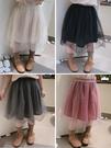 女童洋裝 2020春秋季新款 女童舒適純色半身裙 中小童甜美兒童網紗公主裙【快速出貨】