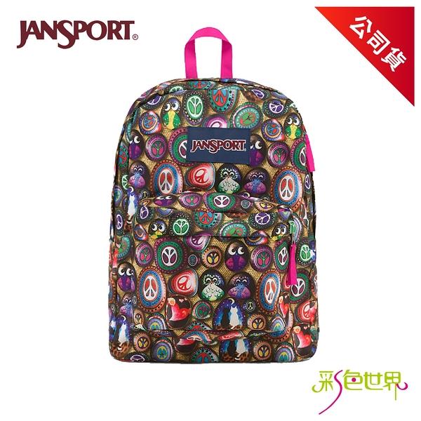 JANSPORT後背包校園背包 尋找貓頭鷹 JS-43501-0AF 彩色世界