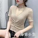 夏天新款V領短袖t恤女性感百搭蕾絲衫透視大碼上衣服半袖交叉洋氣小衫 LR22379『毛菇小象』