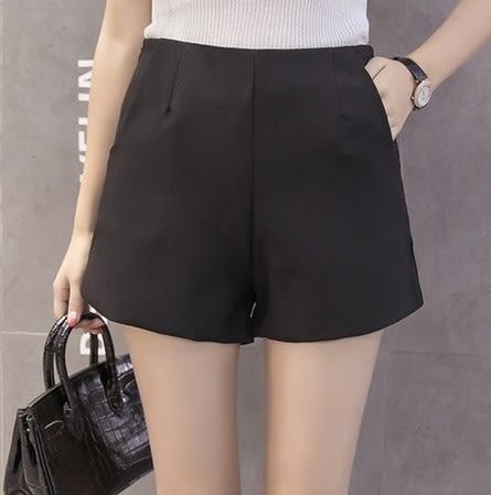 EASON SHOP(GU6077)韓國高腰大碼寬鬆短褲女熱褲短寬褲外穿顯瘦西裝休閒褲韓版春夏裝A提臀車邊