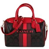 COACH 滿版直條防刮大LOGO波士頓包 手提包 肩背包 斜背包(深咖紅色)-38401