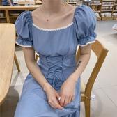 洋裝 連身裙 2020夏季新款紙片人方領氣質花邊綁帶束腰童話公主裙006 T641-A 韓依紡