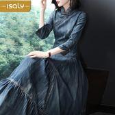 牛仔洋裝/新款牛仔長裙歐美時尚七分袖顯瘦大擺旗袍