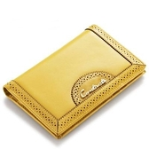 真皮皮夾(短夾)-純色牛皮兩折簡約女零錢包3色73ny42[巴黎精品]