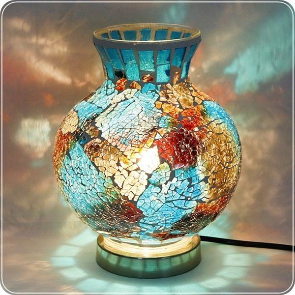 深邃海洋圓球馬賽克檯燈/桌燈/照明燈/夜燈【雅典娜家飾】