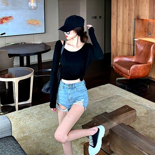 克妹Ke-Mei【AT62554】SEXY獨家款!性感露背單槓寬鬆T恤上衣