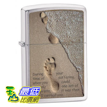 [104 美國直購] Zippo Footprints Brushed Chrome Pocket Lighter 打火機