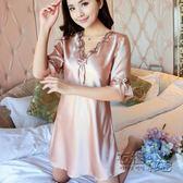時尚睡裙女夏冰絲中裙家居服連身裙薄款短袖蕾絲大碼甜美絲質睡衣 創意家居生活館