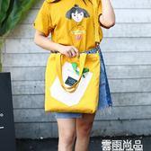 單肩包女帆布新款可拆卸兩用斜挎簡約韓版學生百搭手提大包 新年鉅惠