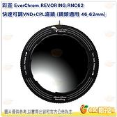彩宣 EverChrom REVORING RNC62 快速可調 VND + CPL濾鏡 鏡頭 46-62mm 公司貨