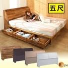 床組 床墊《百嘉美》雙人5尺床頭箱+6抽床底房間2件組 4色 BE009-5