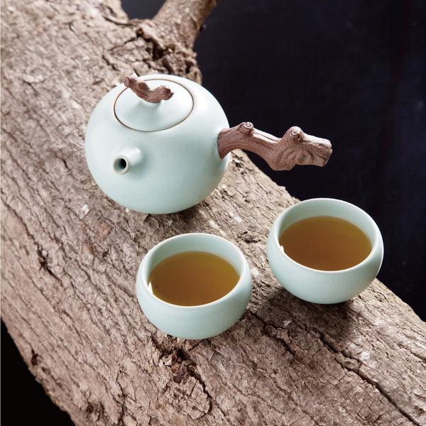 陸寶【汝窯木節禪悅茶組 】一壺兩杯