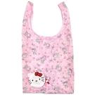 小禮堂 Hello Kitty 折疊尼龍環保購物袋 折疊環保袋 側背袋 手提袋 (白 大臉) 4580433-09516